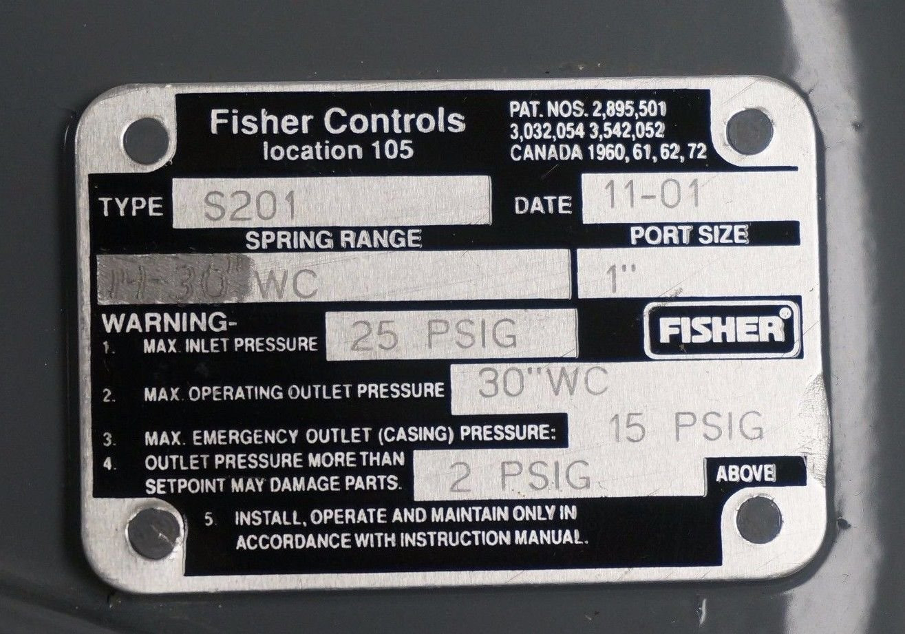 NEW FISHER CONTROLS S201-CNG NATURAL GAS REGULATING VALVE S201CNG ...