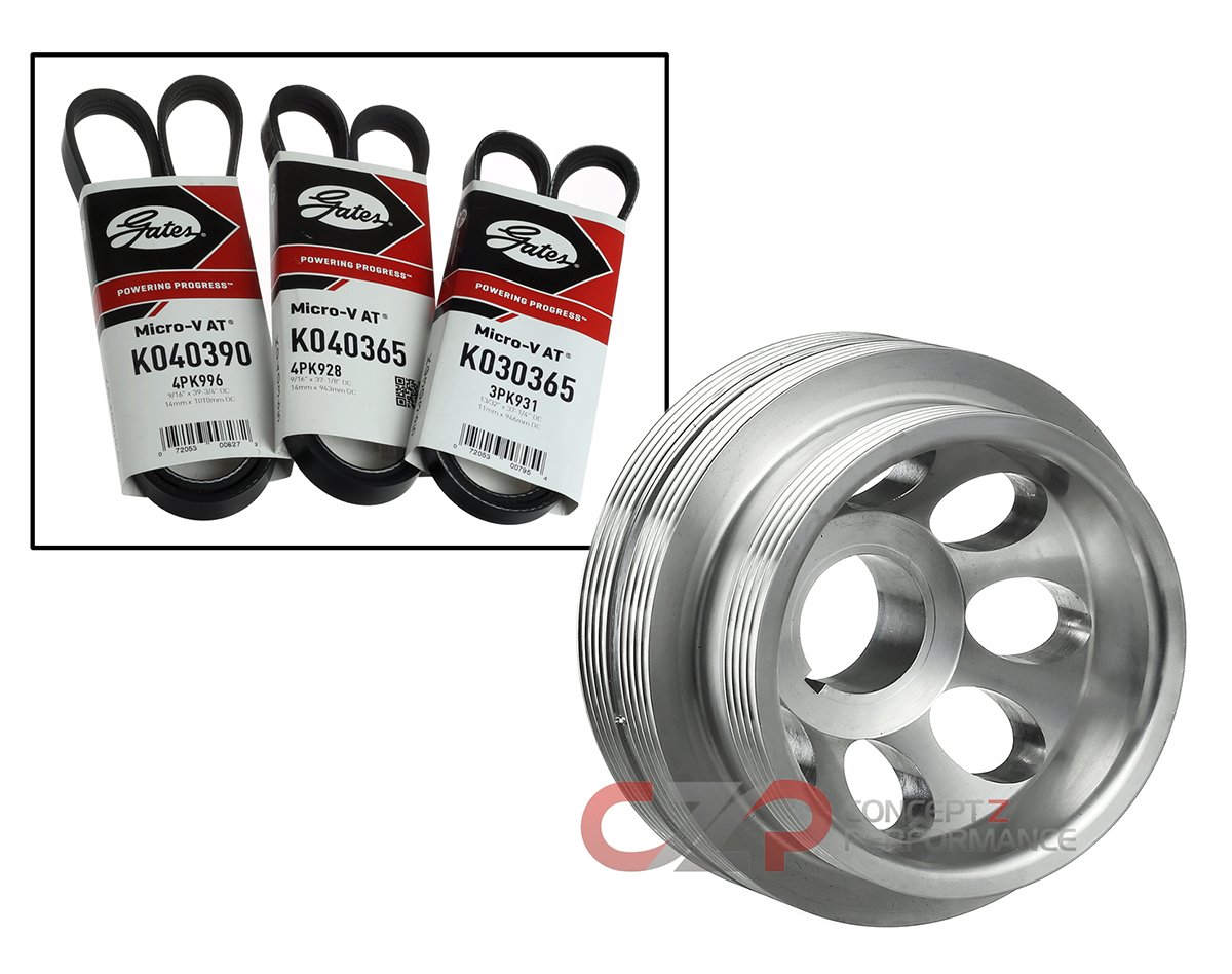 Unorthodox Racing CU1061A Crank Pulley & Belts: Under Drive, Polished - Nissan 300ZX - 90-96 NA/ 94-96 TT Z32