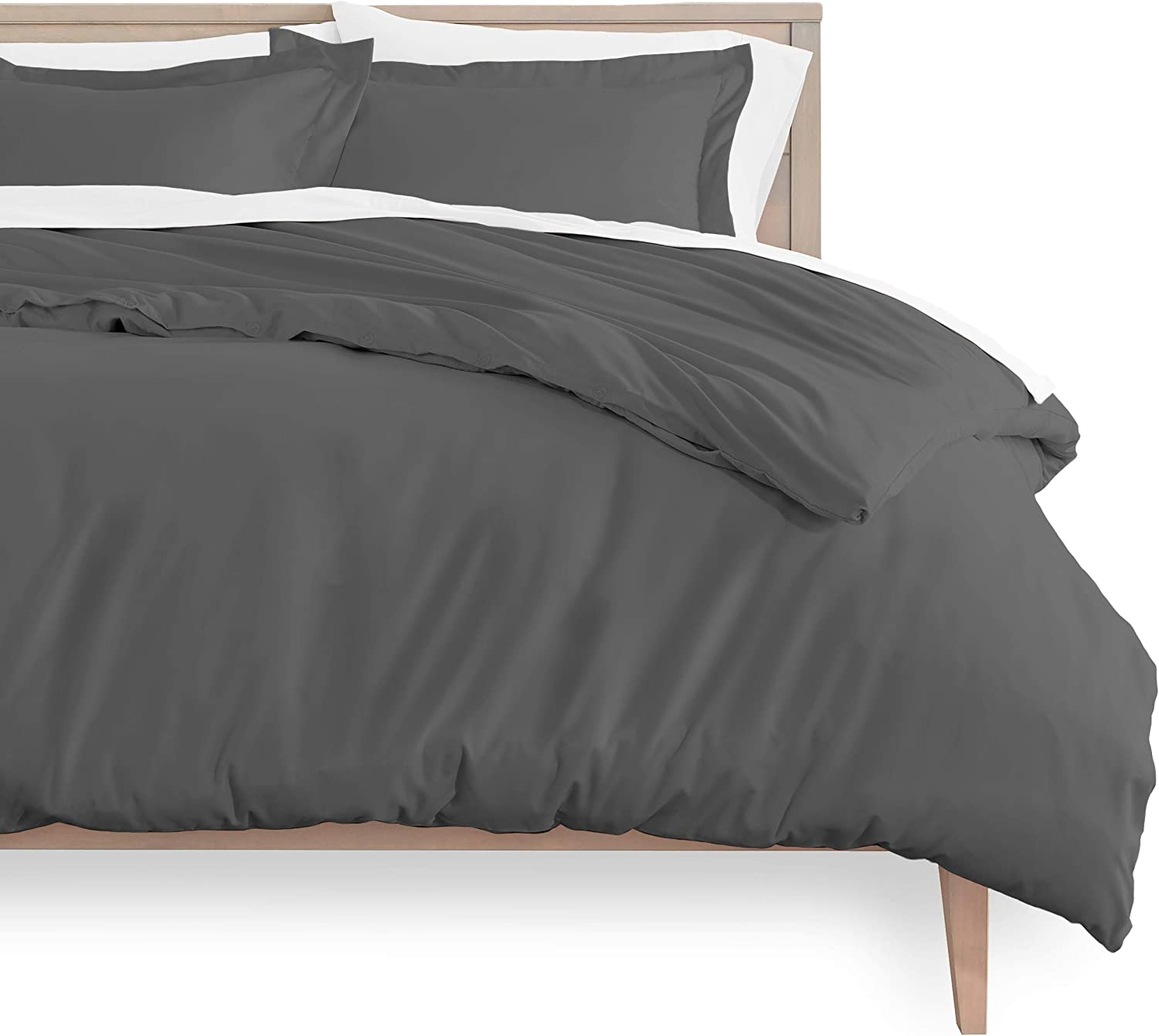 Amazon Com Bare Home Duvet Cover And Sham Set King Size Premium 1800 Ultra Soft Brushed Microfiber Hypoallergenic Easy Care Wrinkle Resistant King Grey Home Kitchen