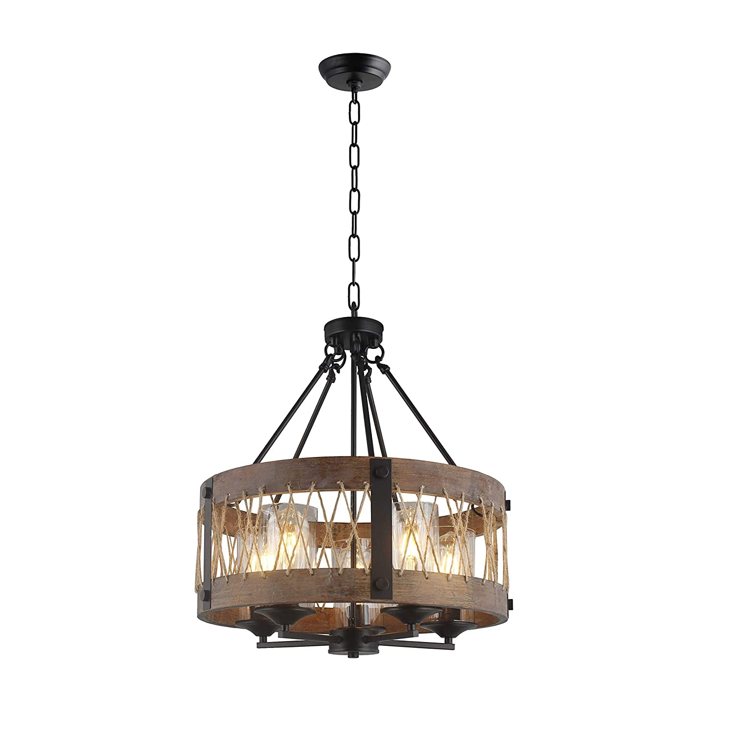 20 Width X 21 Height Wood Wooden Shade Ceiling Light Fixture Pendant Retro Industrial French Country Vintage Antique Chandelier Restaurant Bar Pendant Lamp Nostalgic Cafe