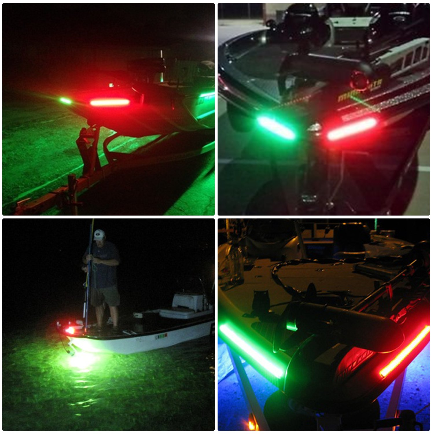 LEANINGTECH One Pair Marine Boat Yacht Light 12V Stainless Steel LED Bow Navigation Lights Pontoons Sailing Signal Lights,Teardrop Bow Lights Waterproof Red and Green