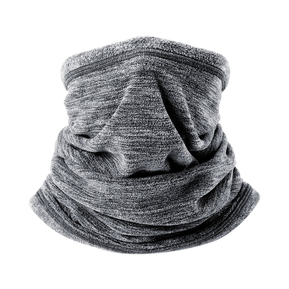 Soft Fleece Scarf Collar Neck Gaiter Warmer Windproof Coldproof Face Mask for Winter Outdoor Sports - Gray Shantan