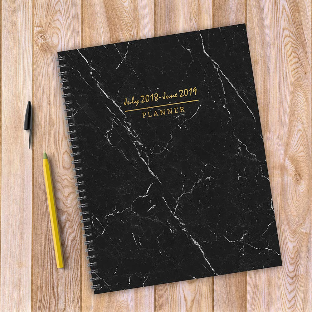 tf publishing 19 9741a july 2018 june 2019 marble large weekly monthly planner 9 x 11 black white gold