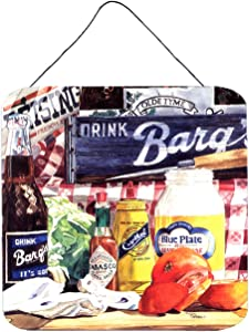 Caroline's Treasures 1013DS66 Blue Plate Mayonaise, Barq's and a Tomato Sandwich Wall or Door Hanging Prints, 6x6, Multicolor