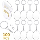 100 Pieces 2 Inch Round Acrylic Keychain Blanks and Key Chains Set Including 50 Pieces Clear Acrylic Pendant Transparent…