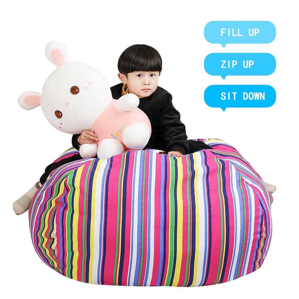 Stuffed Animal Storage Kids' Bean Bag Chair - Cotton Canvas Children's Plush Toy Organizer storage bag, Storage Solution for Plush Toys, Blankets, Towels & Clothes (48'',Colorful stripes)