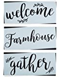 Gather, Welcome, Farmhouse Stencil Set | Large Beautiful Calligraphy Stencils for Painting on Wood | DIY Rustic Decor, Wedding Signs, Kitchen & Porch Stenciled French Country Word Signs