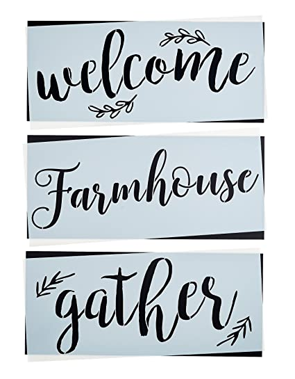 Amazon gather welcome farmhouse stencil set large beautiful gather welcome farmhouse stencil set large beautiful calligraphy stencils for painting on wood spiritdancerdesigns Gallery