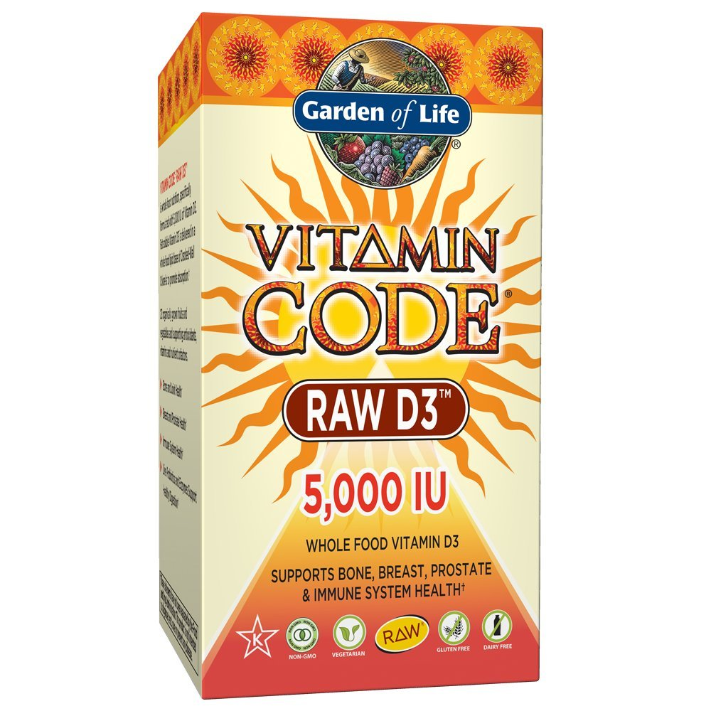 Garden of Life Raw D3 Supplement - Vitamin Code Whole Food Vitamin D3 5000 IU, Dairy and Gluten Free, Vegetarian, 60 Capsules | Color May Vary - Now with Organic Green Cracked Wall Chlorella