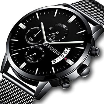 KASHIDUN Mens Watches Sports Military Quartz Wristwatches Waterproof Chronograph Stainless Steel Milanese Bracelet Black Color TL