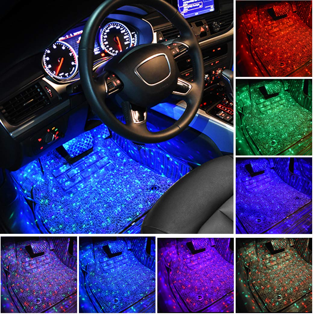 Sfesnid Car Interior Lights Star LED Atmosphere Light Car Strip Light Interior Car Lighting USB Port with LED Car Charger Light Bar With Remote Control