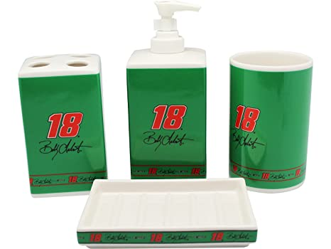 Black and Blue #18 Bobby Labonte NASCAR Ceramic Bath Set