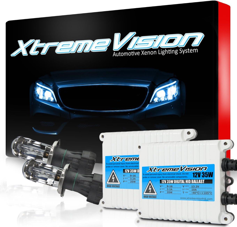 Xtremevision 35W AC Xenon HID Lights with Premium Slim AC Ballast 2 Year Warranty 10K Dark Blue Bi-Xenon H4 // 9003 10000K