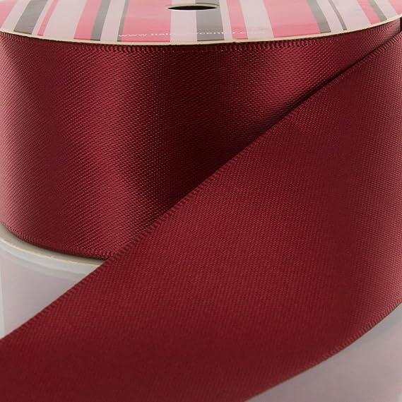 100 yard roll Vintage Feather edge Double faced STIFF craft satin Ribbon~Burgundy~716