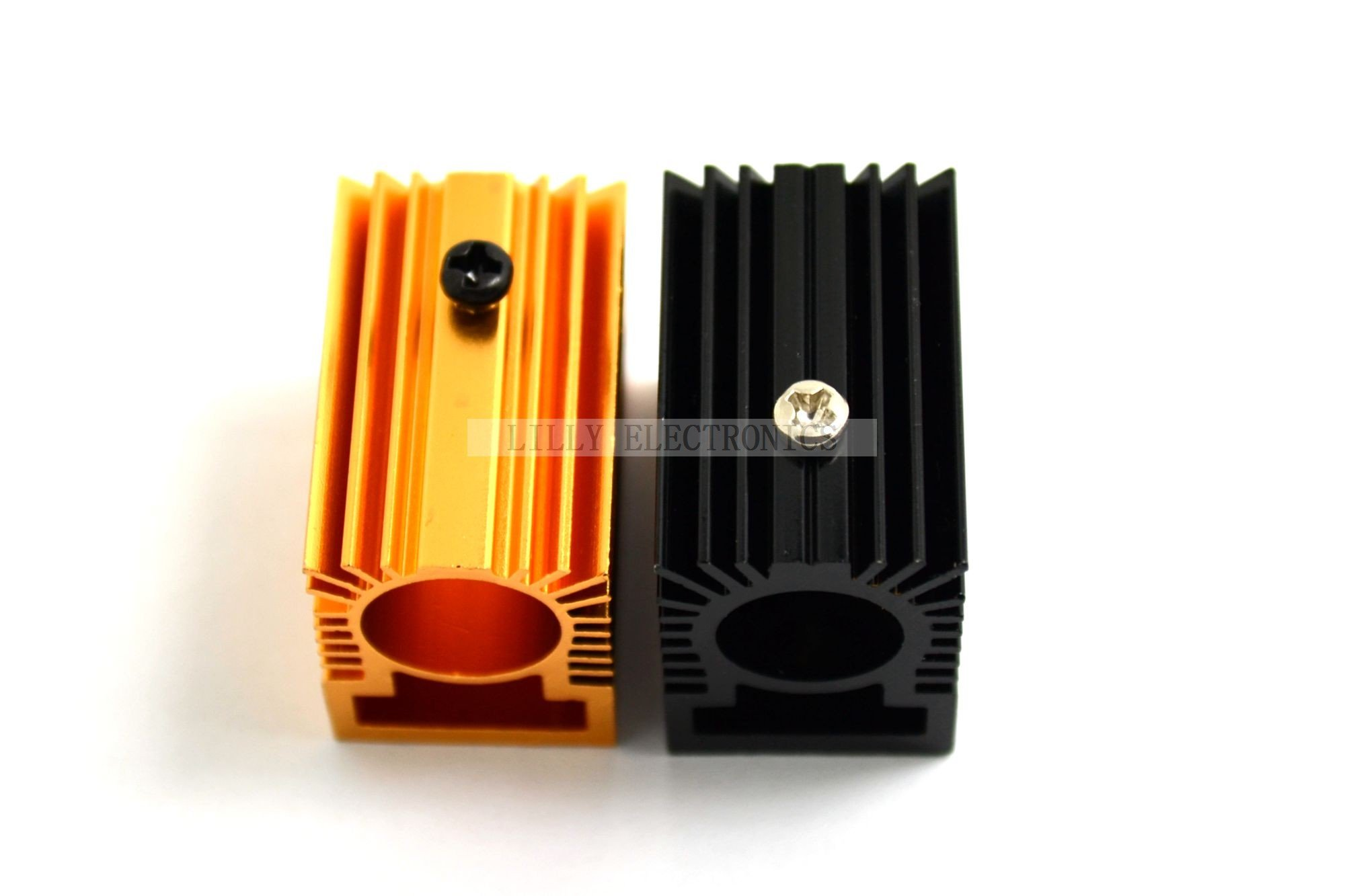 2pcs Aluminum Radiator Heatsink 20x27x50mm for 12mm-13mm Laser Diode Module Golden Gold&Black by BL