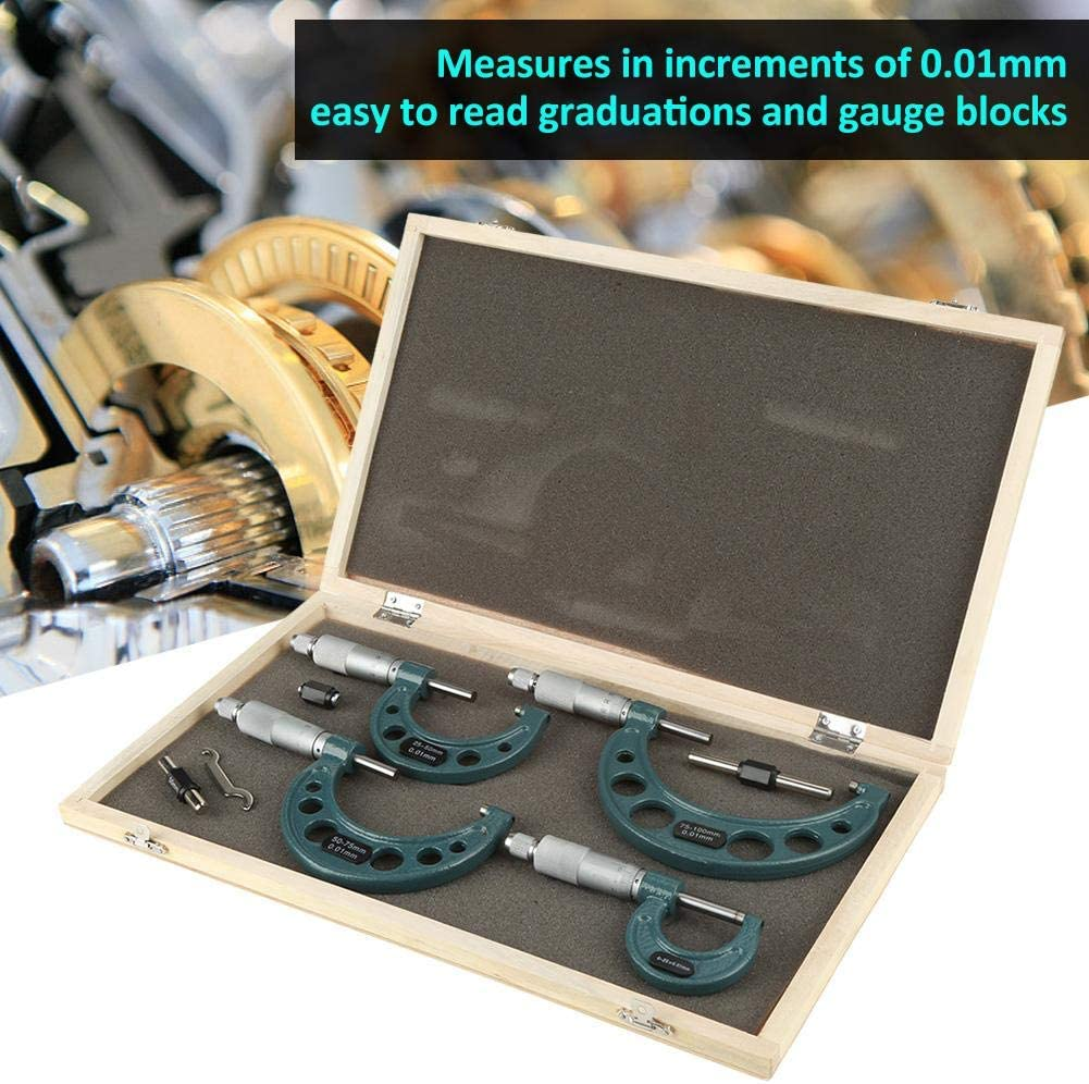 Outside Micrometer Set 4pcs 0-100mm Metric Outside Micrometers Thickness Gauge Measuring Calipers with Case