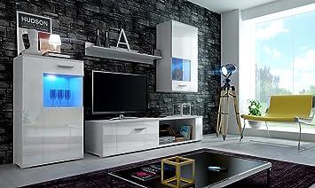 HomeDirectLTD Moderno Conjunto de Muebles de salón Eve (Cuerpo Blanco Mate/Puertas Blanco brilo, LED Blanco)