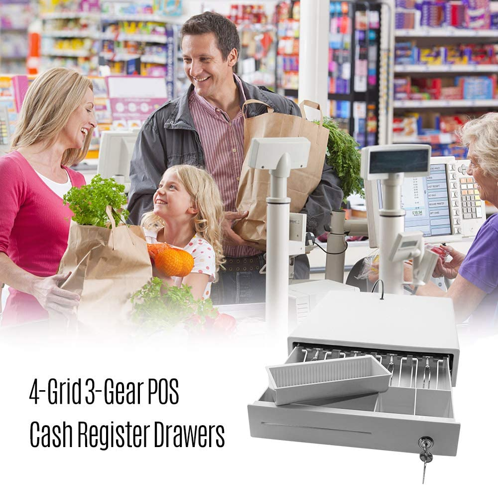 Heavy Duty Cash Drawer Four-Grid Three-Gear POS Cash Register Drawers Cashbox with Money Tray and Lock RJ11 Interface Smart POS System