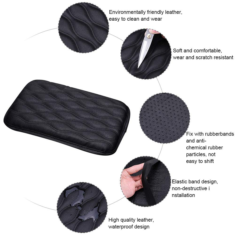 Fit for Most Vehicle,Truck Car Accessories Mioloe Universal Car Armrest Cover,Auto Center Console Pad,PU Leather Auto Arm Rest Cushion Pads Center Console Armrest Protector