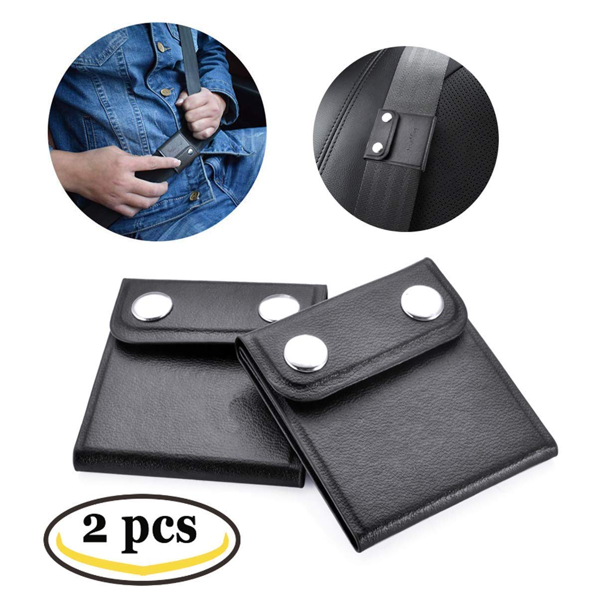 2 Pack, Black Seat Belt Adjuster Comfortable Auto Shoulder Neck Strap Positioner Locking Clips Covers with PU Leather for Kids and Adults