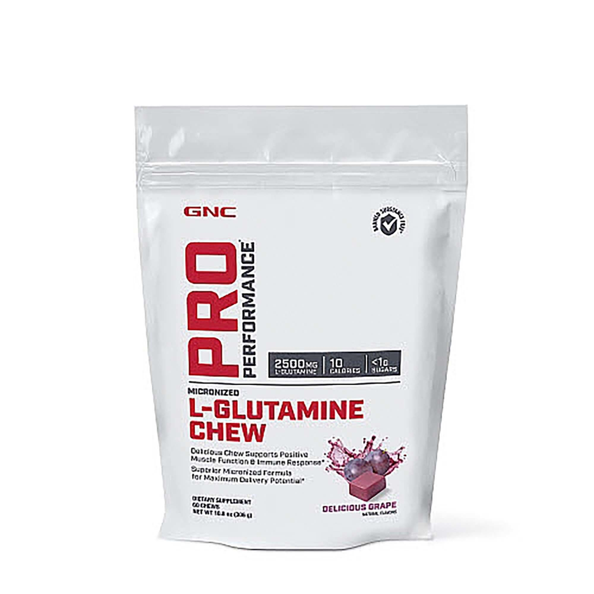 GNC Pro Performance L-Glutamine Chew, Delicious Grape, 60 Chews, Supports Positive Muscle Function and Immune Response by GNC