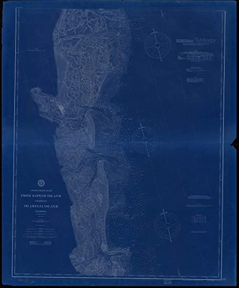Amazon.com: Vintography Blueprint Style 8 x 12 Nautical Map of from ...
