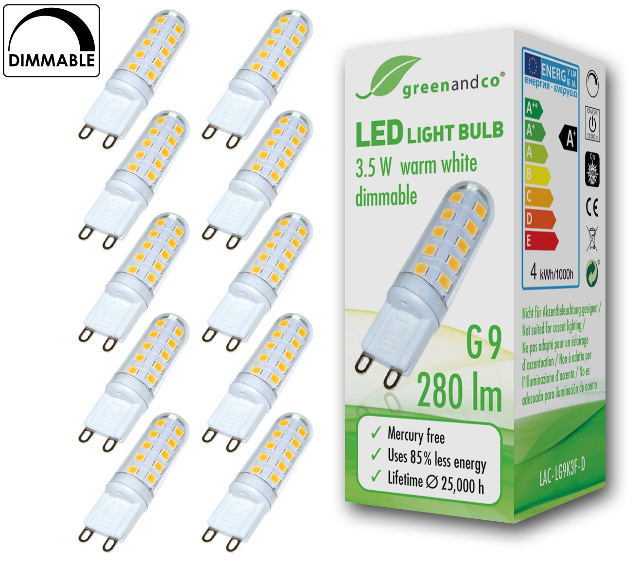 10x Lámpara LED greenandco® regulable G9 3,5W (corresponde a 25-35W) 280lm 3000K (blanco cálido) 270° 230V AC: Amazon.es: Iluminación