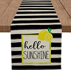 Artoid Mode Watercolor Stripes Hello Sunshine Table Runner, Seasonal Lemon Spring Summer Holiday Kitchen Dining Table Decoration for Home Party Decor 13 x 90 Inch