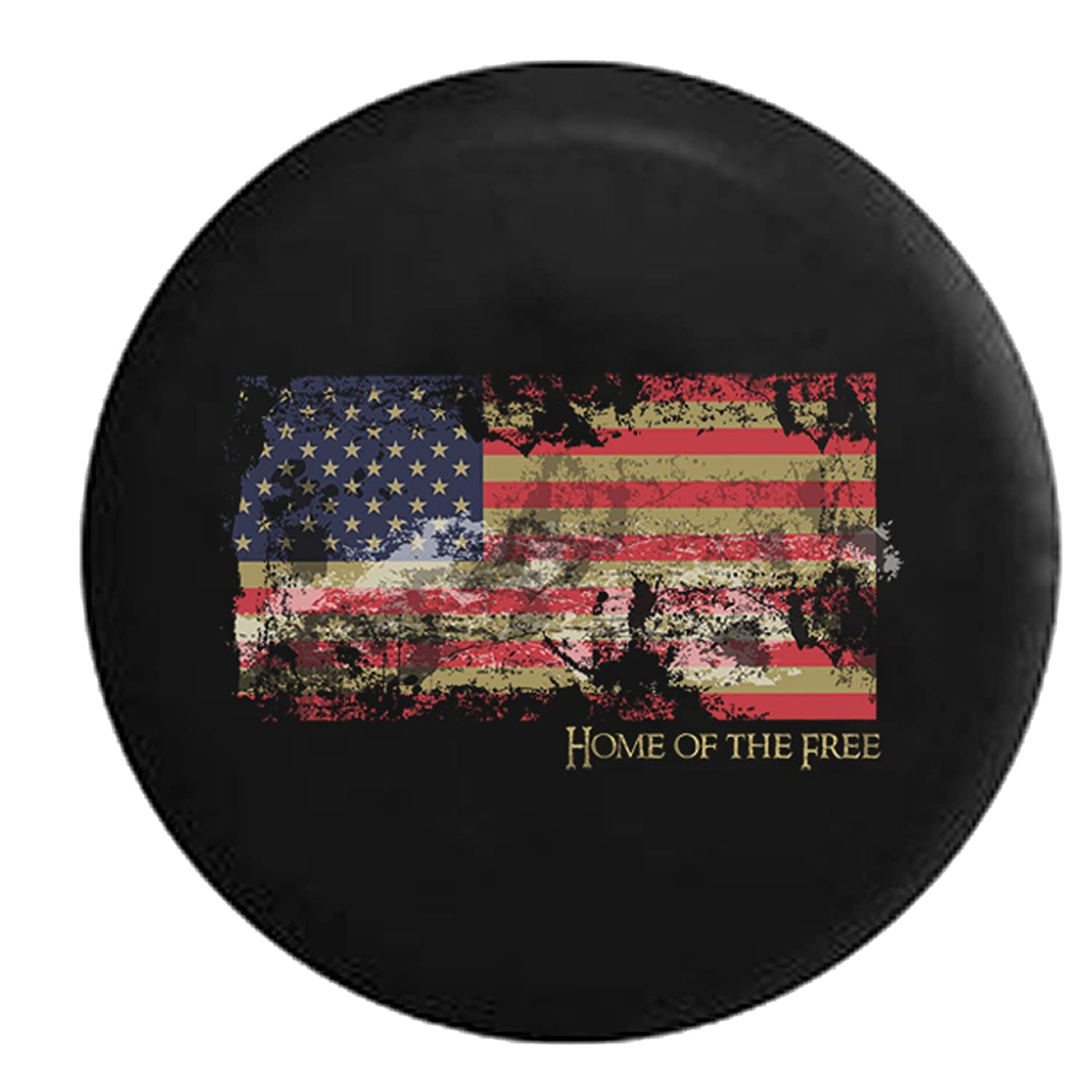 Vintage Distressed American Flag - Home of the Free - Patriotic Pride Spare Tire Cover Black 33 in American Unlimited