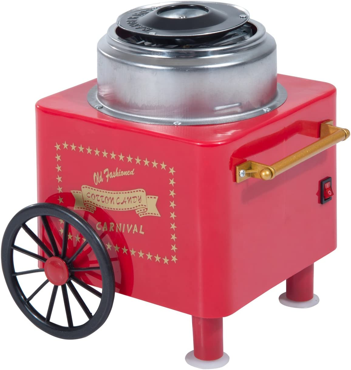 HOMCOM Electric Cotton Candy Maker Candy Floss Machine Cart Kitchen DIY 450W Red Red