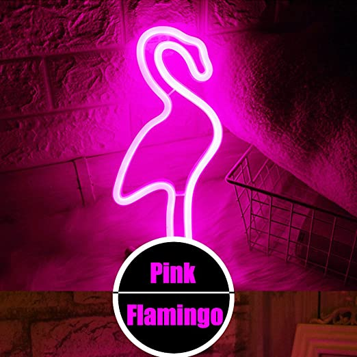 LED Flamingo Neon Light Signs - Night Lights Pink Shine Neon Lights ...