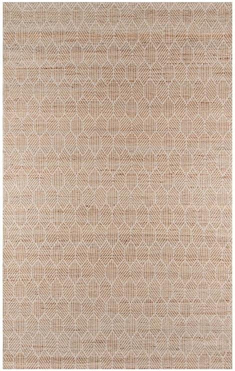 Momeni Rugs - Alfombra geométrica de transición, Yute algodón, Marrón Natural, 80