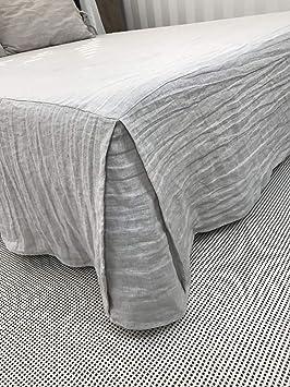 JIAOXM Falda de Cama de Lino Puro, Cubierta Antideslizante Antideslizante para colchones, sábanas con Textura de Lino, Ajuste fácil, ...