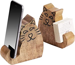 Pack of 2 Cell Phone Stand Wooden Desktop Mobile Holder Business Card Display in Cute Cat Design
