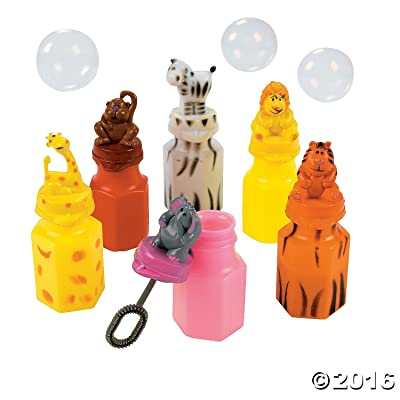 ZOO ANIMAL CHARACTER BUBBLE BOTTLES - Toys - 12 Pieces: Toys & Games
