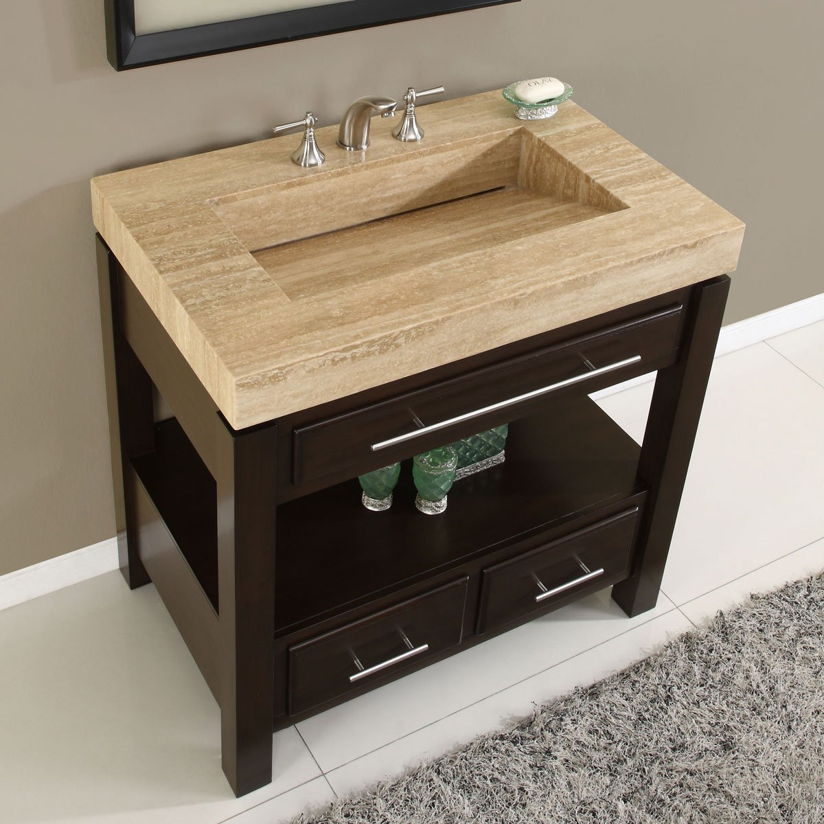 Amazon.com: Silkroad Exclusive Dark Walnut Stone Top Single Sink Bathroom  Vanity With Cabinet, 36 Inch: Home U0026 Kitchen