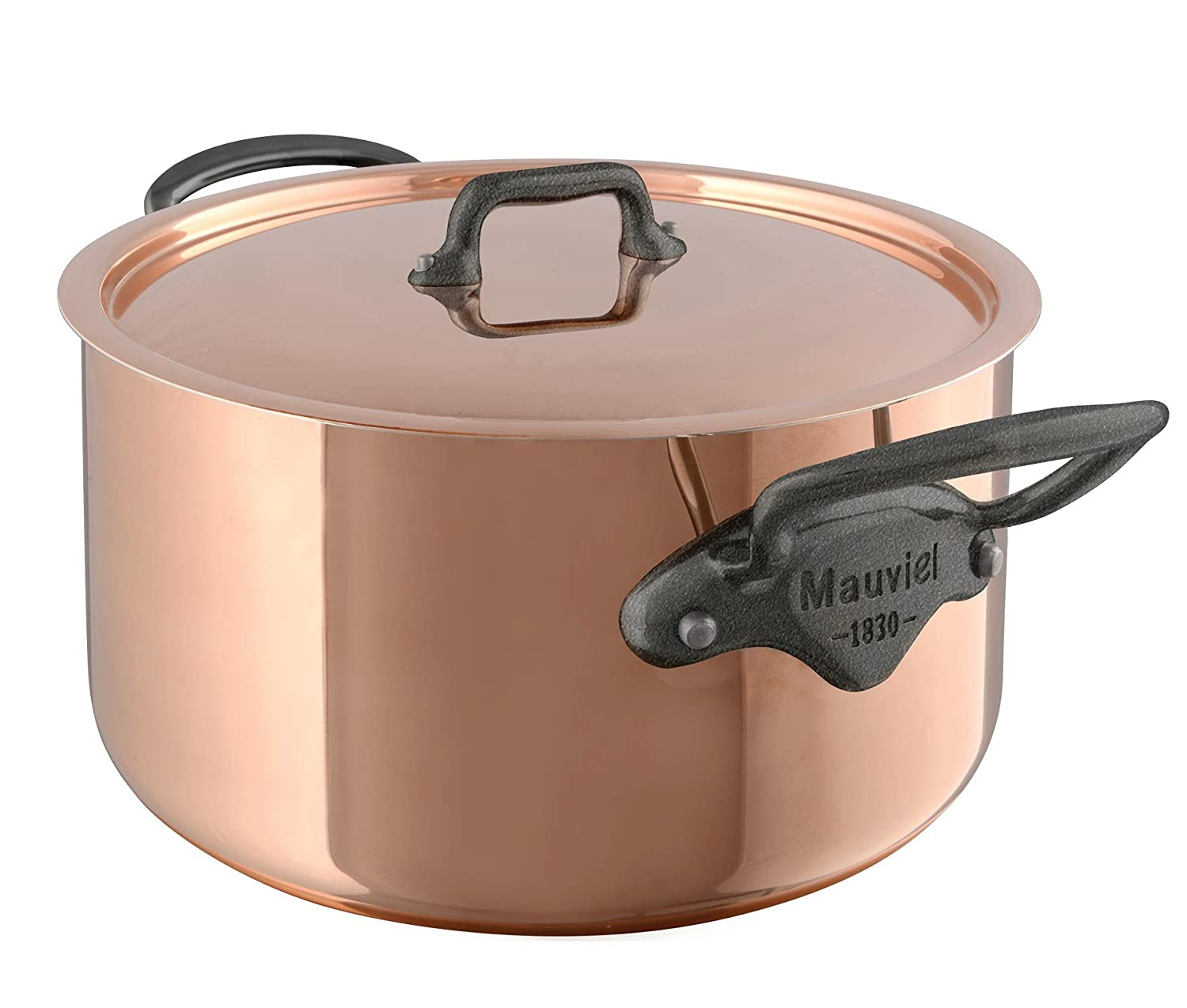 "Mauviel M'Heritage M150C 6481.25 Copper Dutch Oven/Stew pan with Lid. 5.6L/5.9 quart 24cm/9.5"" with Cast Stainless Steel Iron EletroplatedHandle"