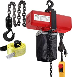 Partsam 1100lbs Lift Electric Chain Hoist Single Phase Overhead Crane Garage Ceiling Pulley Winch Hook Mount G80 Chain w Pendant Control and Towing Strap Sling (1/2T 110V), 10ft Lift Height, 2 Hooks
