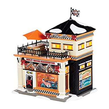 Department 56 Snow Village  Harley Racing Headquarters  Porcelain Lighted Building #4036563