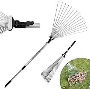 DVCOM Adjustable Garden Rake for Leaf - Collect Loose Debris Among Delicate Plants - Lawns and Yards, Best Expandable Head rake for Leaves - Small to Large rake for Gardening