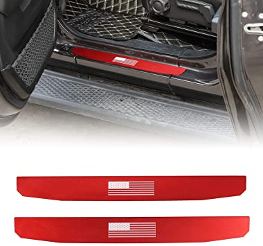 Black ABS Door Sills Scuff Plate Entry Guard fits 2007-2018 Jeep Wrangler JK 2dr