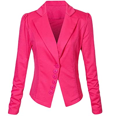 Abetteric Women's Classic Work Office Solid-Colored Thin Blazer Jacket