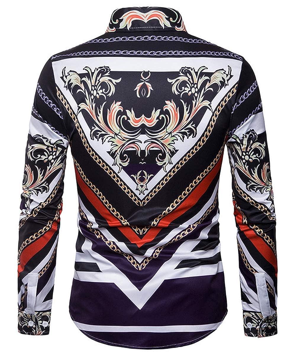 Mens Large Size Shirt Fashion Casual Classic Color Matching Print Pattern Long Sleeve Simple Wild Shirt Shirt