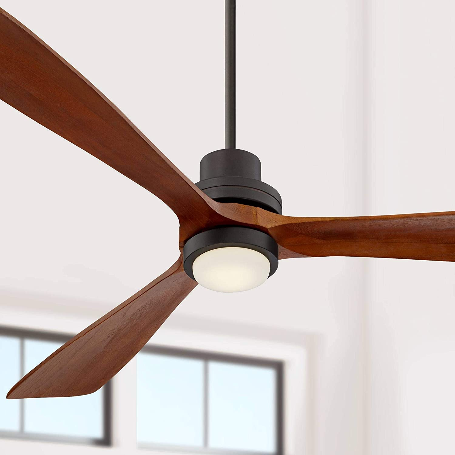 66 Casa Delta Wing Modern Contemporary 3 Blade Ceiling Fan With Light Led Remote Oil Rubbed Bronze Wood Opal Glass For House Bedroom Living Room Home Kitchen Dining Office Casa Vieja