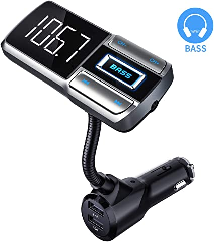 FM Transmitter Car Bluetooth Wireless Receiver Kit 1.44 LCD Display Dual USB Car Charger AUX,Audio// Mp3 Players Car Charger Hand-Free Calling TF//SD Card Read Car Battery Voltage