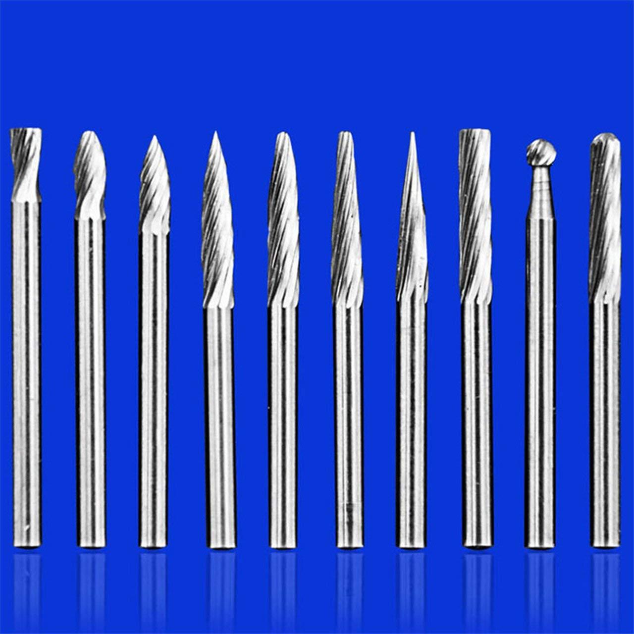 VHM Burr Set Wolframkarbid Rotary Files Burrs mit 3mm Schneidkopf Durchmesser geeignet f/ür die meisten Drehbohrer Die Grinder DEjasnyfall Silber