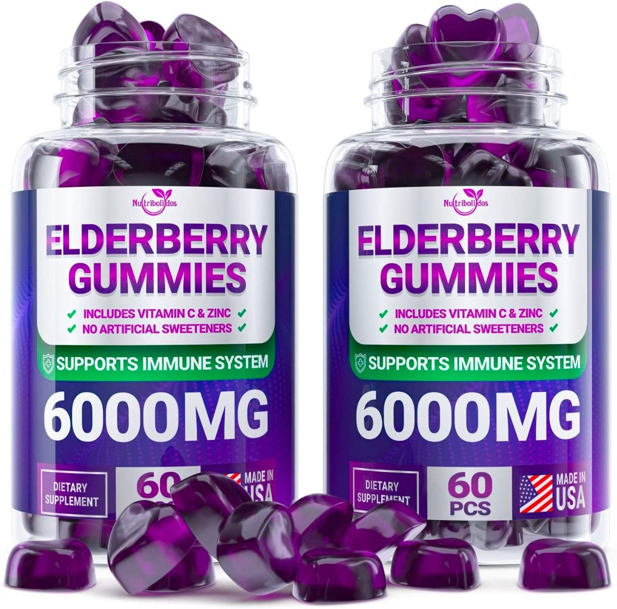 (2 - Pack) Sаmbuсus Elderberry Gummies for Adults Kids Toddlers with Vіtаmіn С & Zіnс - Herbal Supplement for Immune Support, Skin Health - Powerful Antioxidant | - Made in USA - 120 Gummies