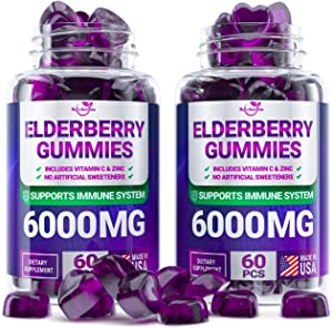 (2 - Pack) Sаmbuсus Elderberry Gummies for Adults Kids Toddlers with Vіtаmіn С & Zіnс - Herbal Supplement for Immune Support, Skin Health - Powerful Antioxidant   - Made in USA - 120 Gummies