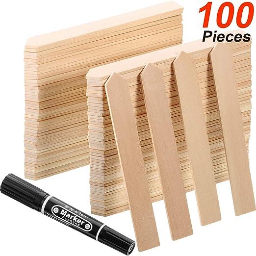Etiquetas de Plantas de Bambú Etiquetas de Flechas de Madera de Jardín con Pluma para Firma Planta de Jardín (100): Amazon.es: Jardín