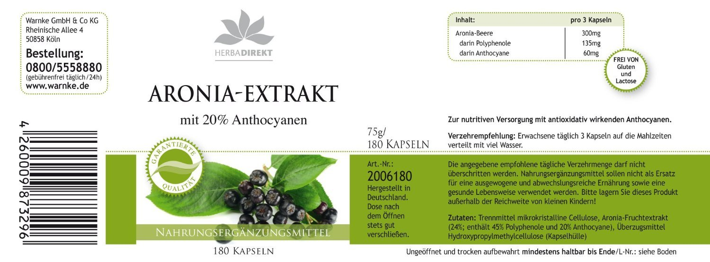 Extracto de Aronia - Herbadirekt - 180 Cápsulas - Producto vegetariano: Amazon.es: Salud y cuidado personal